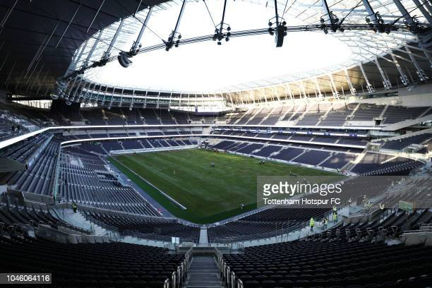 The first grass pitch is laid at the new Tottenham Hotspur stadium on October 5 2018 in London England