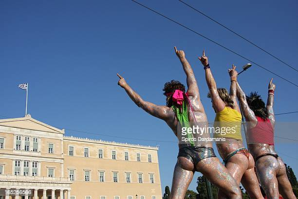 The first Greek gay pride in front of Greece's parliament