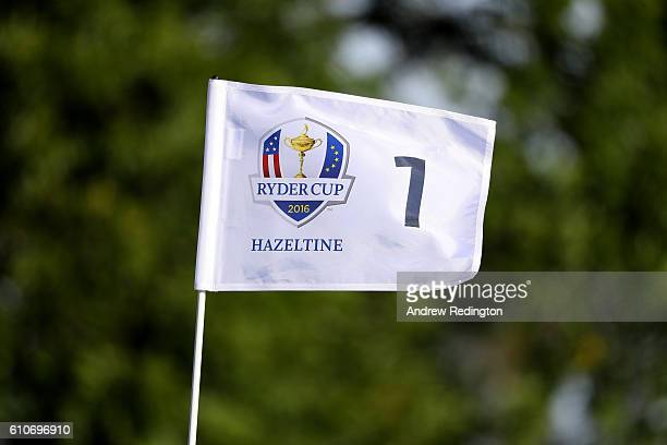 The first green flag flies in the wind prior to the 2016 Ryder Cup at Hazeltine National Golf Club on September 27 2016 in Chaska Minnesota