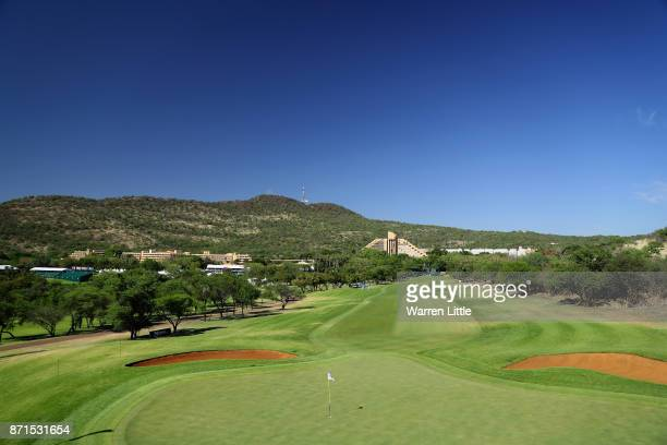 The first green is pictured during the pro am ahead of the Nedbank Golf Challenge at Gary Player CC on November 8 2017 in Sun City South Africa