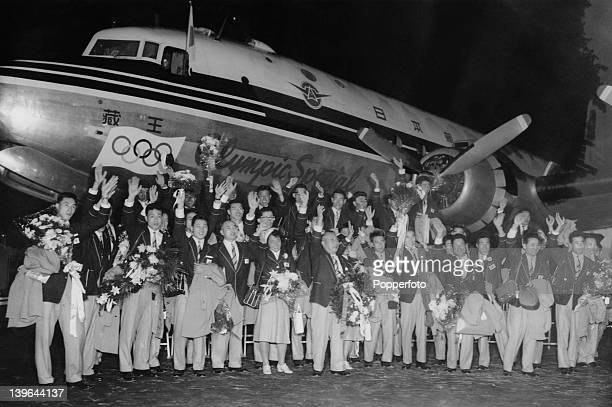 The first group of Japan's Olympic athletes to travel to the Melbourne Olympic Games, at Haneda Airport, Tokyo, before their departure, 5th November...