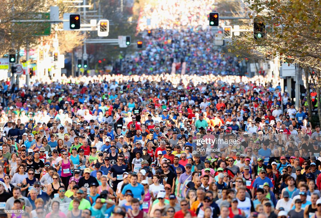 The first group of runners set out during the start of the 2017 City to Surf on August 13, 2017 in Sydney, Australia.