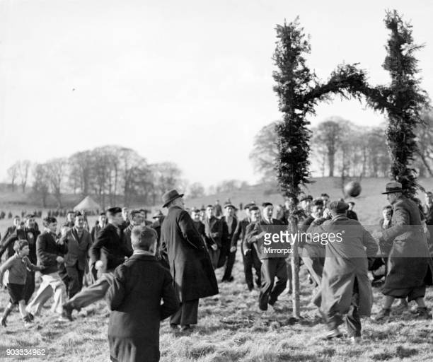 The first 'Hale' being scored for St Micheal's who won by 21 in the annual Shrovetide football match at Alnwick yesterday 10th February 1937