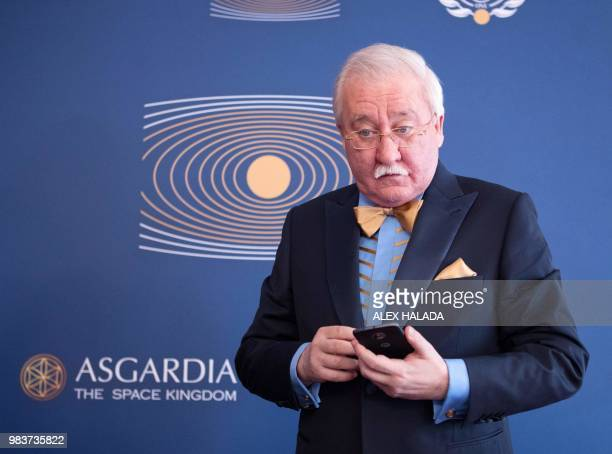 The first Head of Nation of the proposed new state 'Asgardia' Russian scientist and businessman Igor Ashurbeyli answers questions during an interview...