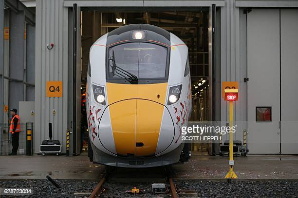 The first Hitachi Intercity Express Programme train is unveiled during a press event at Hitachi's manufacturing plant in Newyton Aycliffe, north-east...