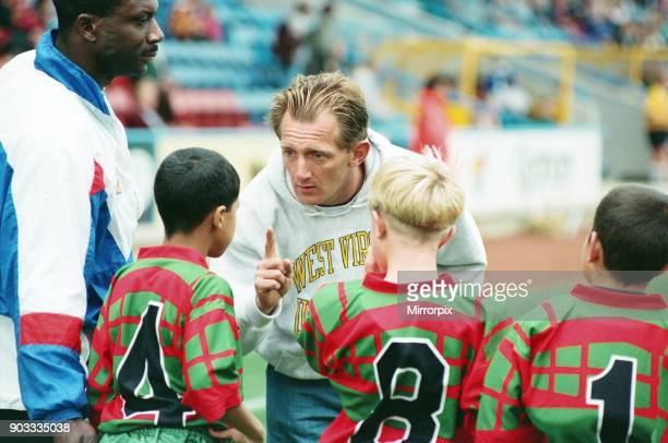 The first Huddersfield Giants home game at McAlpine stadium A Steve Williams pep talk at half time for his Deighton Juniors 28th August 1994