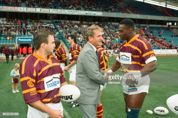 The first Huddersfield Giants home game at McAlpine stadium Huddersfield MP Barry Sheerman is introduced to Basil Richards 28th August 1994