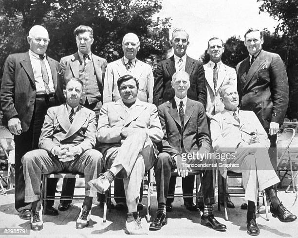 COOPERSTOWN NY JULY 1939 The first inductees to the Baseball Hall of Fame pose for a group portrait in Cooperstown in July of 1939 They are top row...