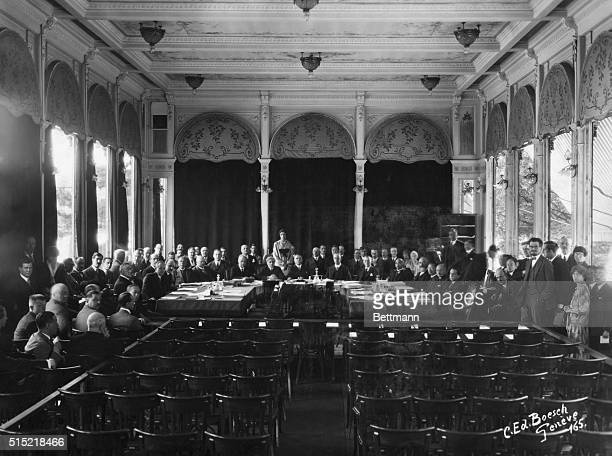 The first informal meeting of the League of Nations in Geneva Delegates include Gustav Stresemann of Germany Neville Chamberlain of Great Britain and...