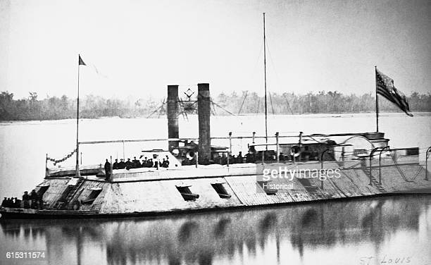 The first ironclad gunboat built in America the St Louis underway Circa 1862