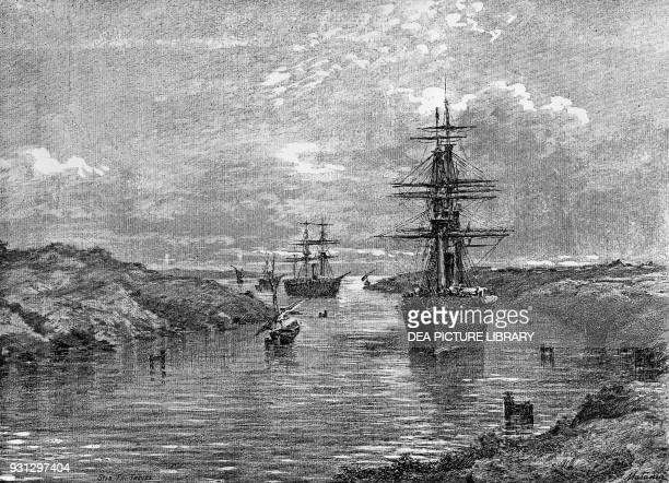 The first Italian expedition in the Red Sea the Gottardo and Amerigo Vespucci ships sailing down the Suez Canal Egypt drawing by Edoardo Matania...
