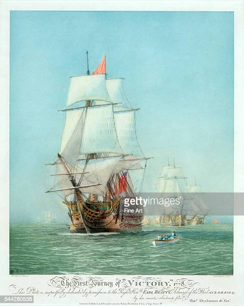 'The First Journey of 'Victory' 1778' showing the English Man of War HMS Victory handcolored etching and aquatint engraved by WL Wyllie and published...