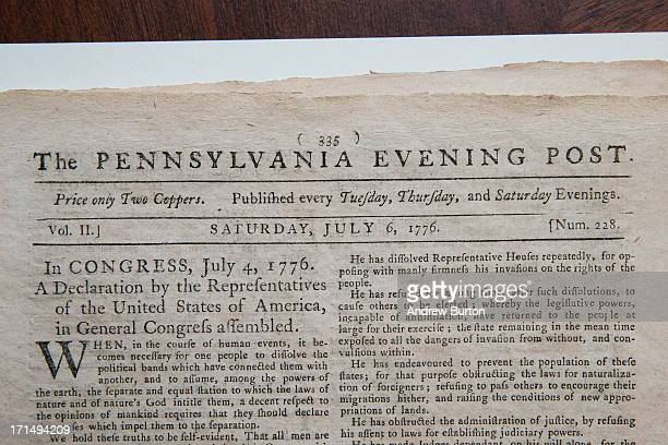 The first known newspaper printing of the Declaration of Independence printed on July 6 1776 in The Pennsylvania Evening Post is seen after being...
