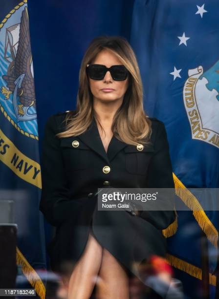 The First Lady Melania Trump attends Veterans Day Parade's opening ceremony on November 11 2019 in New York City