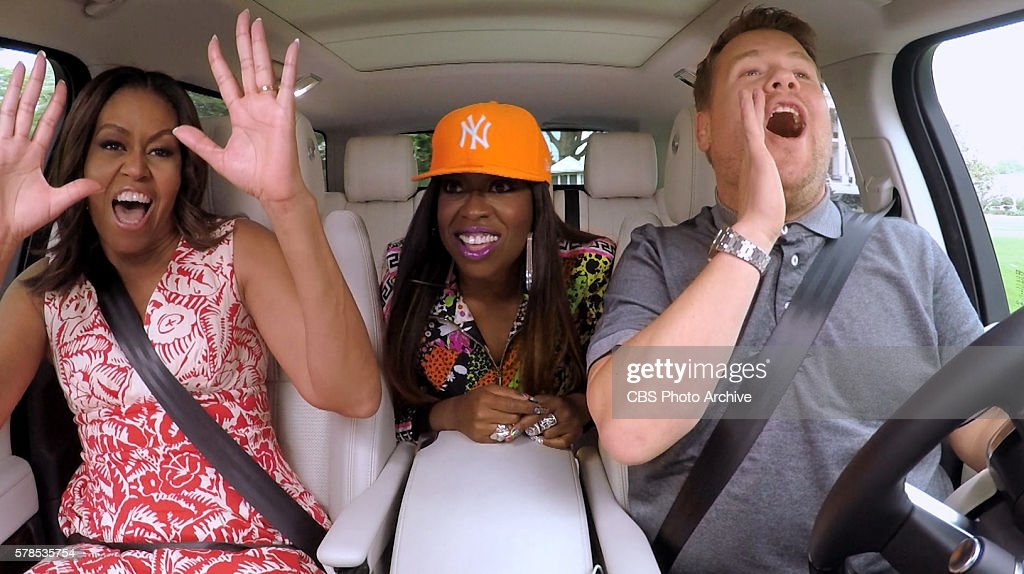 The First Lady Michelle Obama and Missy Elliott join James Corden for Carpool Karaoke on 'The Late Late Show with James Corden,' Wednesday, July 20th 2016(12:37-1:37 AM, ET/PT) on The CBS Television Network. Image is a screen grab.