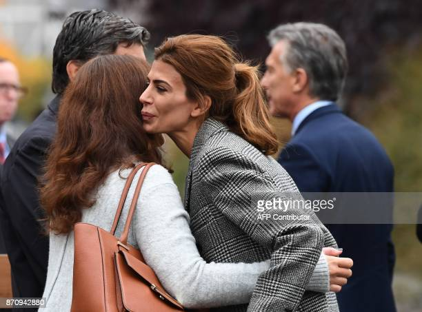 The First Lady of Argentina Juliana Awada greets another woman during a tribute to victims of the bike path terror attack in New York on November 6...