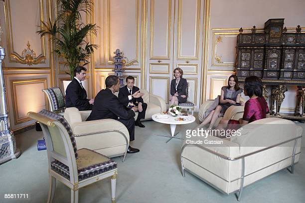 The First Lady of France Carla Sarkozy the President of France Nicolas Sarkozy the President of the United States Barack Obama and First Lady of the...