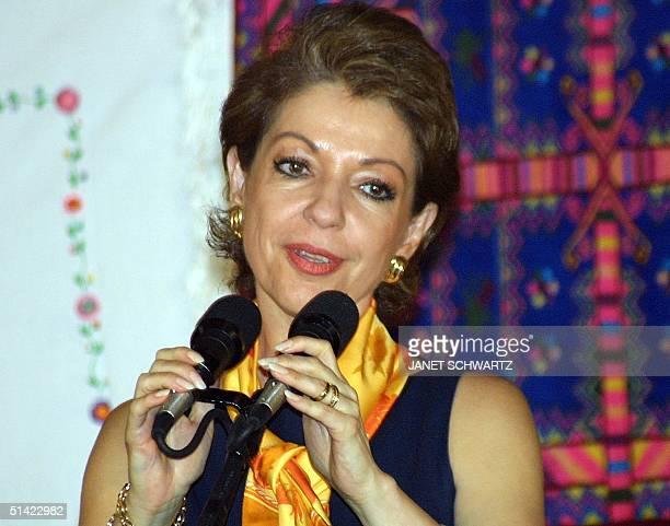 The first lady of Mexico Martha Sahagun de Fox gives a speech during a visit to the La Alborrada community center in San Cristobal de las Casas...