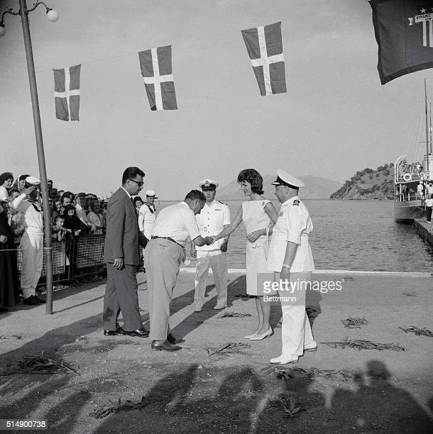 The First Lady of the United States Mrs Jacqueline Kennedy is greeted by the Mayor of Epidaurus June 8th on her arrival here from Athens The...