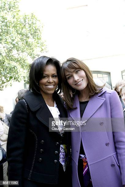The First Lady of United States Michelle Obama and the First Lady of France Carla Sarkozy pose for a portrait session in Strasbourg France for Self...