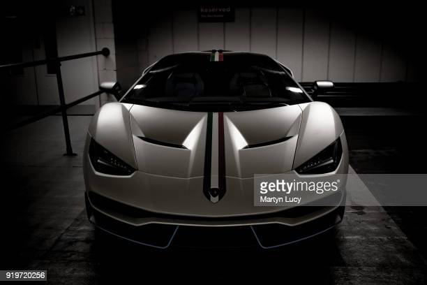 The first Lamborghini Centenario delivered to Qatari Sheikh Khalifa bin Hamad Al Thani on display on March 30 2017 in London England With 40 models...