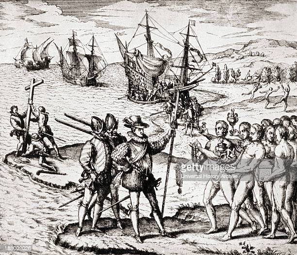 The First Landing Of Columbus On San Salvador Island West Indies Christopher Columbus C1451 To 1506 Italian Navigator Colonizer And Explorer From The...
