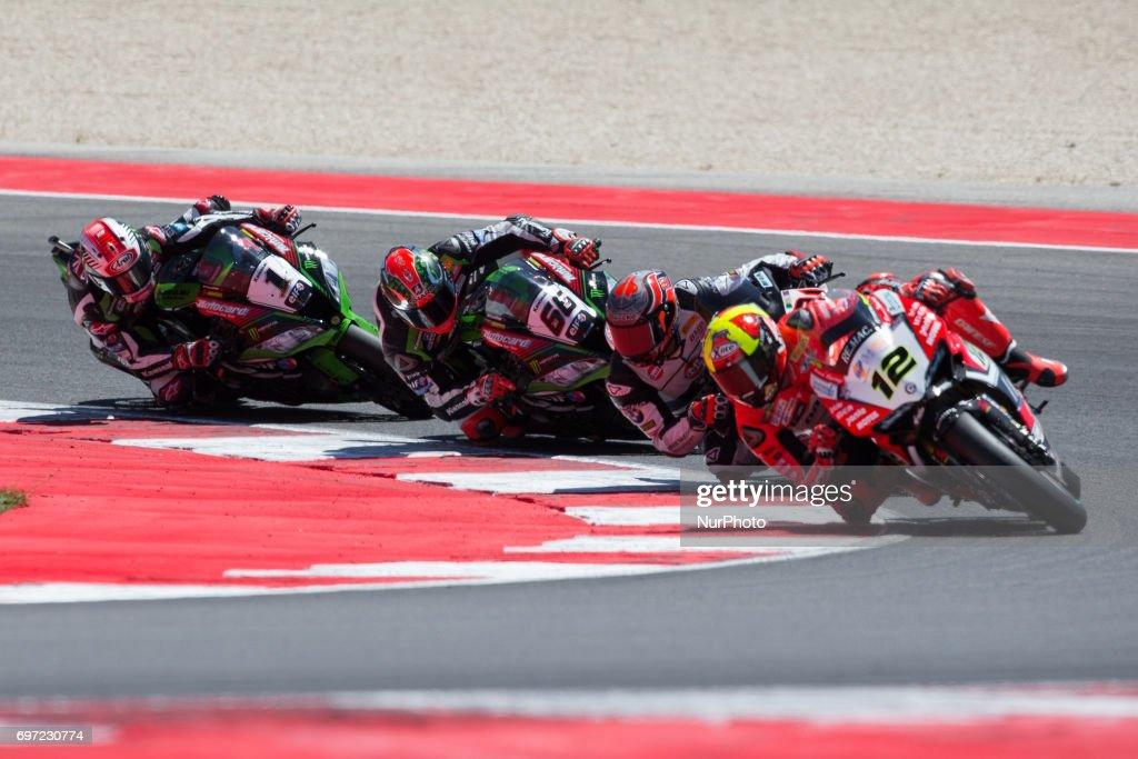 "The first laps of race 2 of the Motul FIM Superbike Championship, Riviera di Rimini Round, at Misano World Circuit ""Marco Simoncelli"", on June 18, 2017 in Misano Adriatico, Italy"