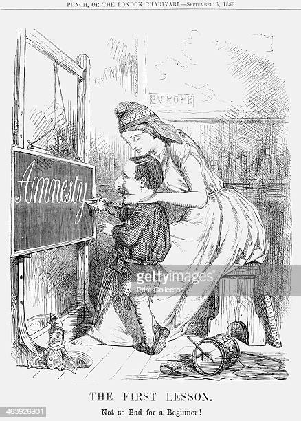 'The First Lesson' 1859 'Not so Bad for a Beginner' In this cartoon Liberty in the role of a schoolmistress helps a childish Napoleon III to write...