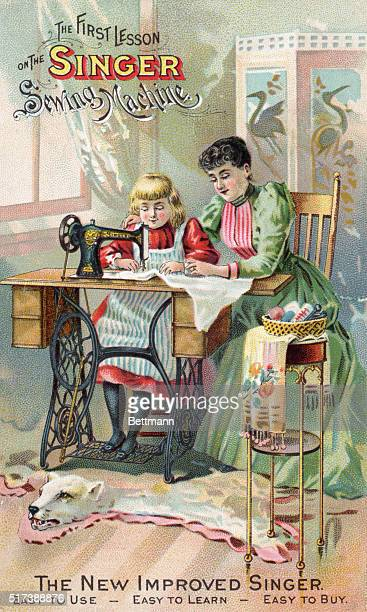 'The First Lesson on the Singer Sewing Machine Easy to Use Easy to learn Easy to Buy' Cover of Singer Sewing Machine instruction manual showing a...