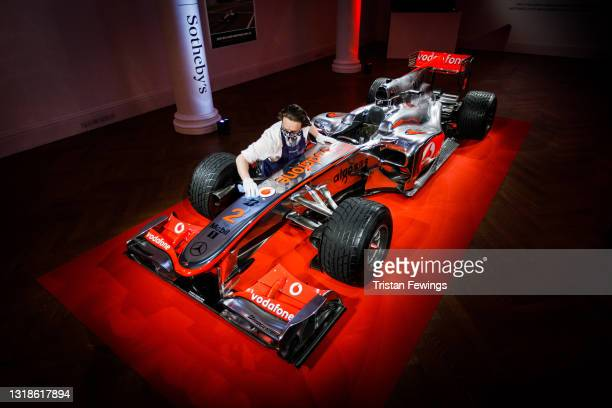 The first Lewis Hamilton Formula 1 race winning car to come to the market goes on view at Sotheby's on May 18, 2021 in London, England. The live...