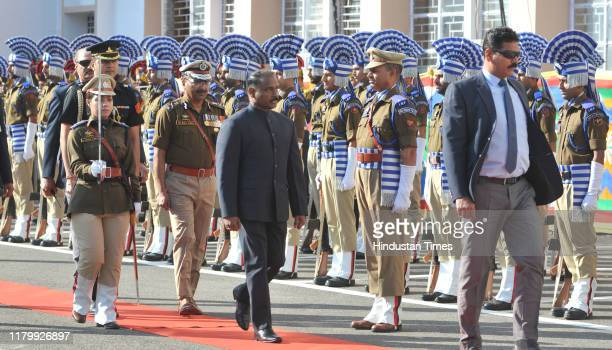 The first Lieutenant Governor of Jammu and Kashmir, Girish Chandra Murmu, inspects a guard of honour at Civil Secretariat following the annual...