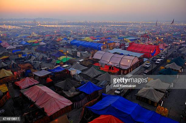 The first light of dawn over the Sangam, the confluence of the Yamuna, Ganges and mythical Saraswati rivers during the Maha Kumbh Mela.