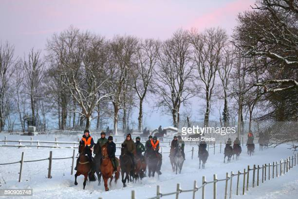 The first lot head down the polytack gallop in heavy snow conditions at the yard of national hunt trainer Nigel TwistonDavies on December 12 2017 in...