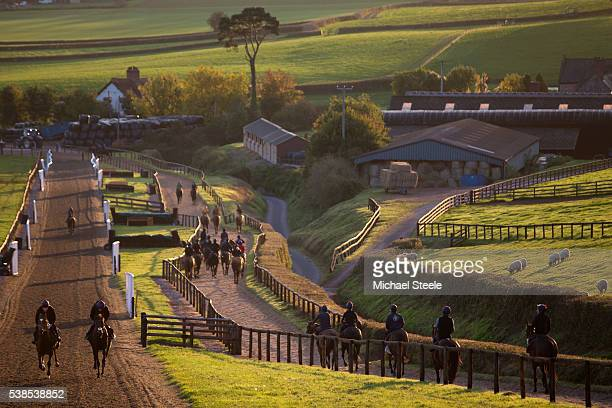 The first lot workout at Sandhill Racing Stables on October 20 2015 in Minehead England Sandhill Racing Stables set in 500 hundred acres of farmland...