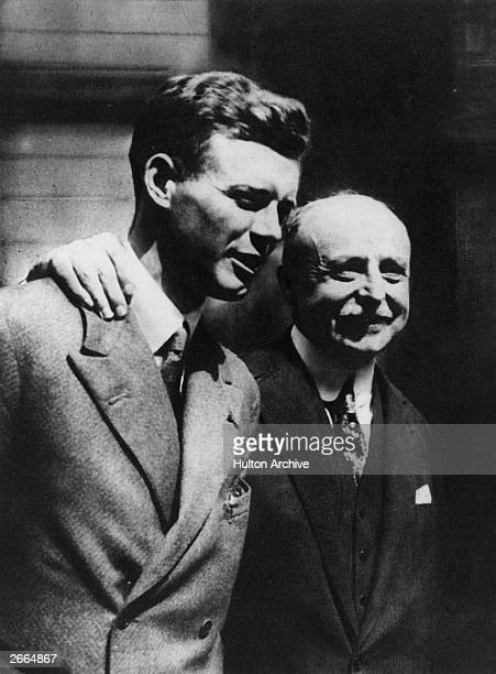The first man to cross the Atlantic solo and directly, Charles Lindbergh, meeting Louis Bleriot, the first man to cross the English Channel, at Le...