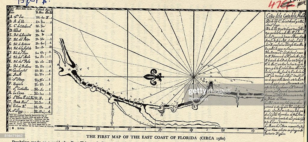 Map Florida East Coast.The First Map Of The East Coast Of Florida Circa 1560 News Photo