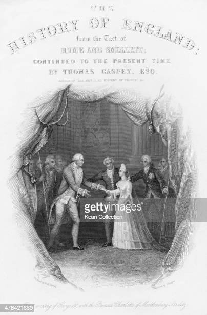 The first meeting of King George III and his future consort Princess Charlotte of MecklenburgStrelitz 1761 Engraved by J Rogers from a painting by W...