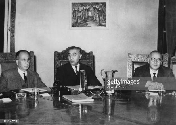 The first meeting of the new Syrian Revolution Cabinet after the March 8th Revolution 21th March 1963 From left to right Nihad alQasim the Minister...