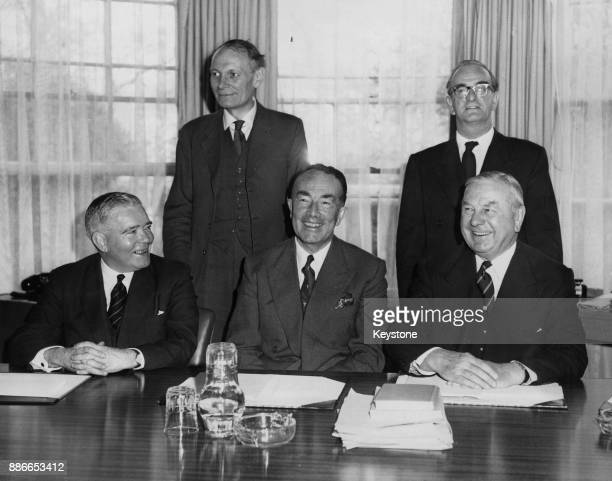 The first meeting of the Second Royal Commission on the Press takes place at York Terrace Regent's Park London 6th April 1961 From left to right...