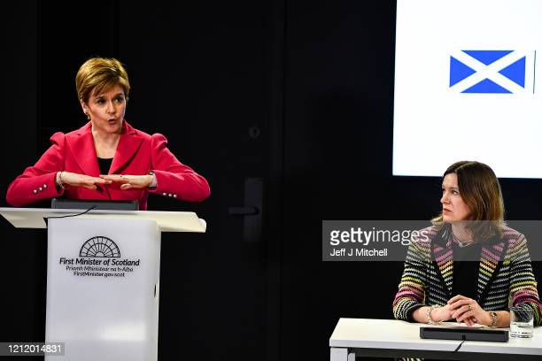The First Minister Nicola Sturgeon and Chief Medical Officer Dr Catherine Calderwood deliver an update on Coronavirus following a COBRA meeting on...