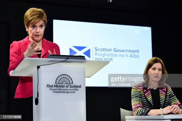 The First Minister Nicola Sturgeon and Chief Medical Officer Dr Catherine Calderwood deliver an update on Corona Virus following a COBRA meeting on...