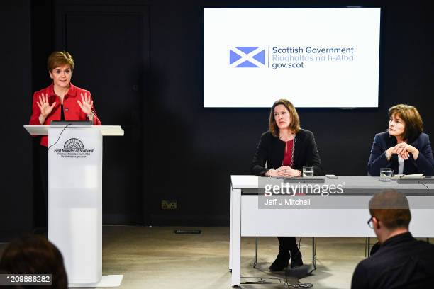 The First Minister Nicola Sturgeon Chief Medical Officer Dr Catherine Calderwood and Health Secretary Jeane Freeman hold a Coronavirus briefing at St...