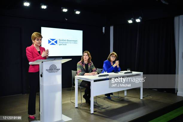 The First Minister Nicola Sturgeon Chief Medical Officer Dr Catherine Calderwood and Health Secretary Jeane Freeman deliver an update on Corona Virus...