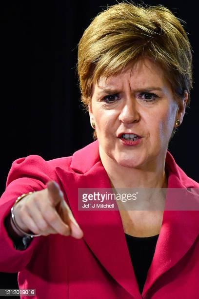 The First Minister Nicola Sturgeon delivers an update on Corona Virus following a COBRA meeting on March 12 2020 in Edinburgh Scotland Gatherings of...