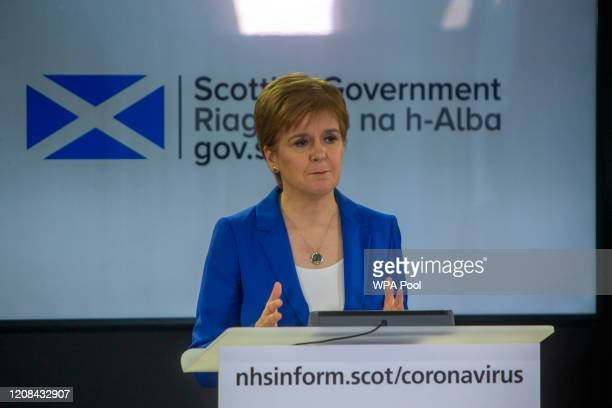 The First Minister Nicola Sturgeon gives a COVID-19 press briefing at St Andrews House on March 27, 2020 in Edinburgh, Scotland. Scotland have...