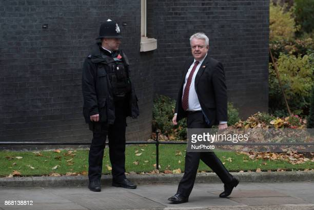 The First Minister of Wales Carwyn Jones as he arrives in Downing Street on October 30 2017 in London England Brexit is likely to dominate...
