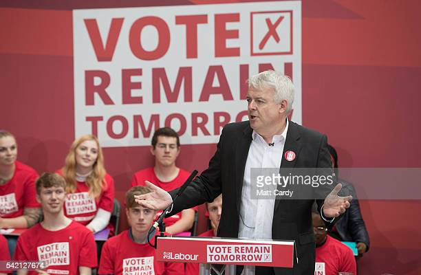 The First Minister of Wales Carwyn Jones talks at a Labour In rally ahead of tomorrow's EU referendum on June 22 2016 in London England The Labour...