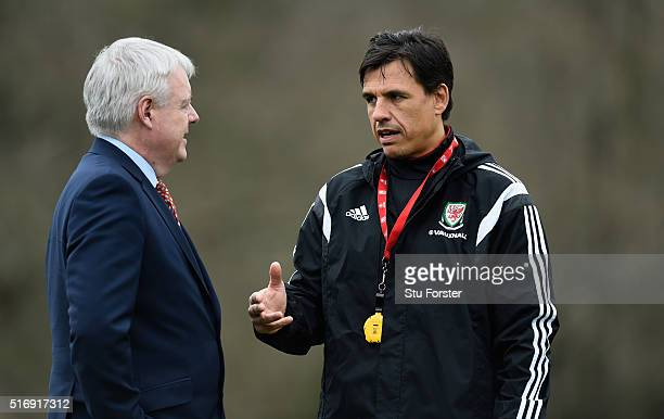 The First Minister of Wales the right honourable Carwyn Jones in conversation with Wales head coach Chris Coleman before Wales training at the Vale...