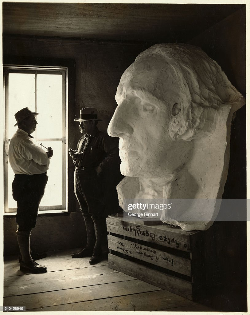 Gutzon Borglum by Plaster Cast of George Washington : News Photo