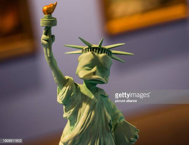 The first model of the statue of liberty as duck is displayed at the special exhibition 'DUCKOMENTA' in the Archäologisches Museum Hamburg Germany 07...